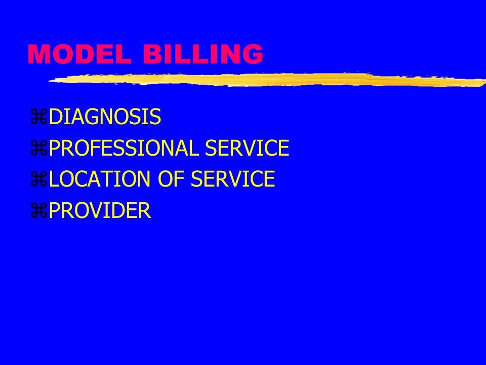 MODEL BILLING zDIAGNOSIS zPROFESSIONAL SERVICE zLOCATION OF SERVICE zPROVIDER