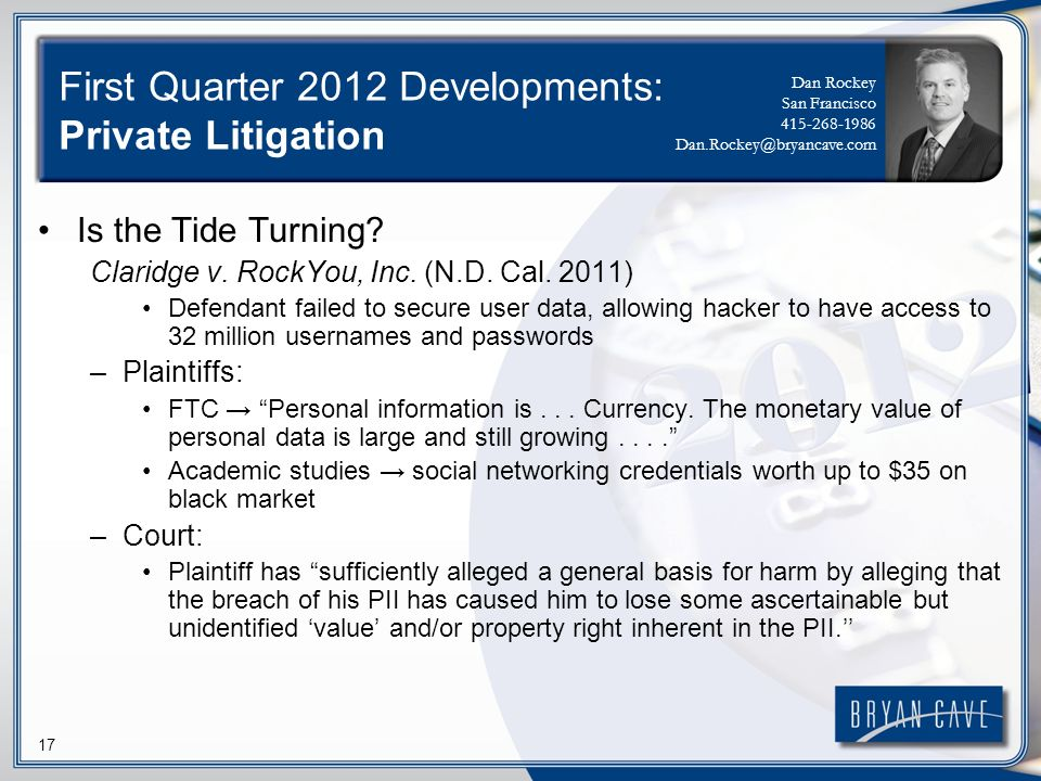 17 First Quarter 2012 Developments: Private Litigation Is the Tide Turning.