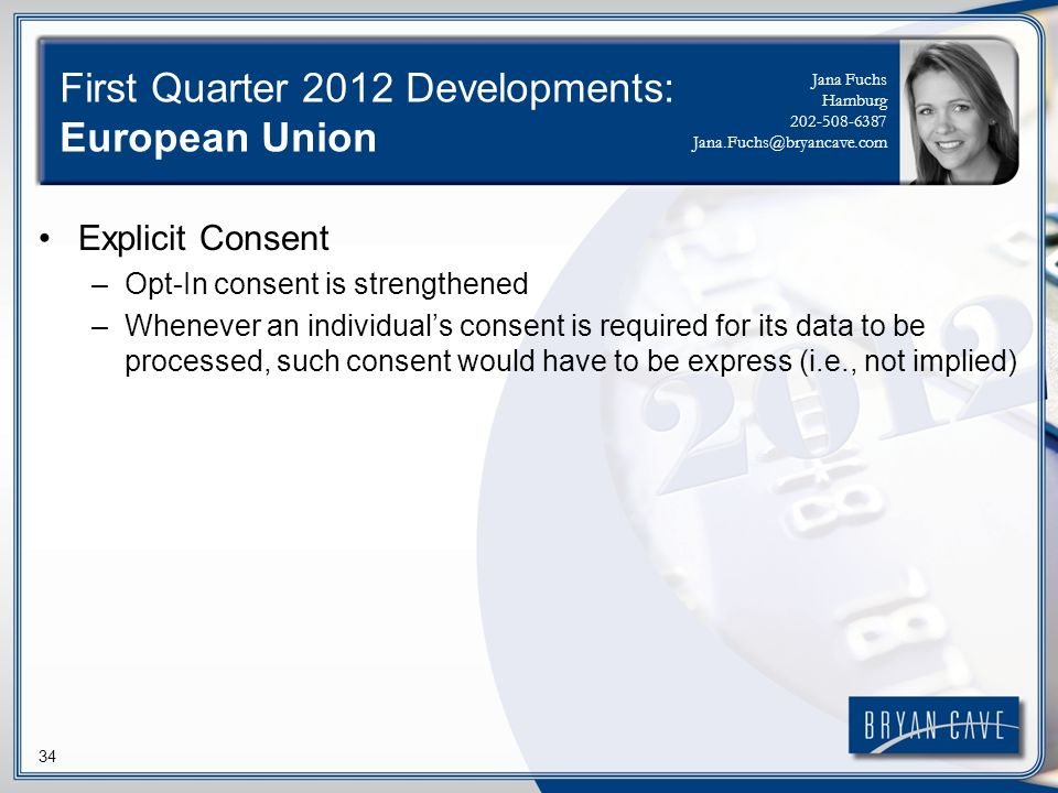 34 First Quarter 2012 Developments: European Union Explicit Consent –Opt-In consent is strengthened –Whenever an individuals consent is required for i