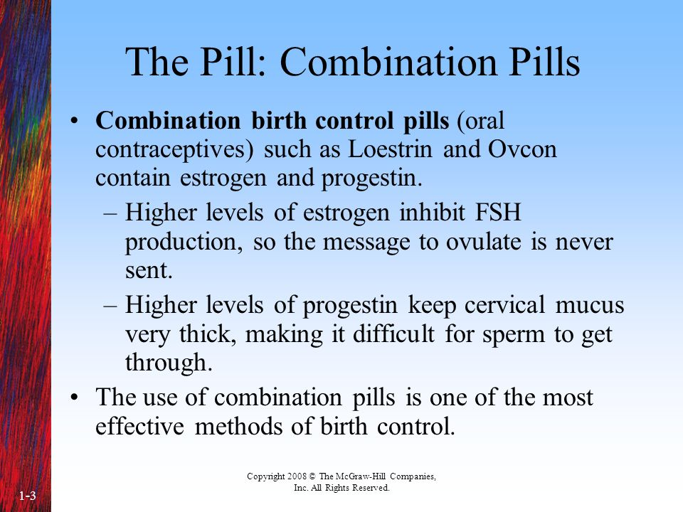 Copyright 2008 © The McGraw-Hill Companies, Inc. All Rights Reserved. 1-3 The Pill: Combination Pills Combination birth control pills (oral contracept