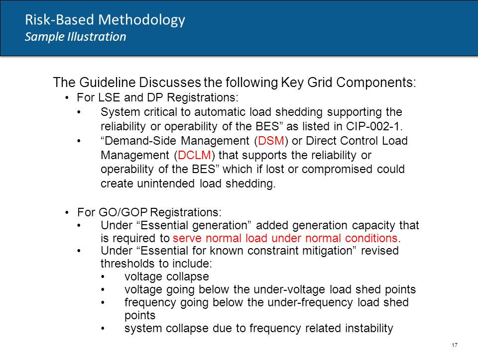 Risk-Based Methodology Sample Illustration The Guideline Discusses the following Key Grid Components: For LSE and DP Registrations: System critical to automatic load shedding supporting the reliability or operability of the BES as listed in CIP-002-1.