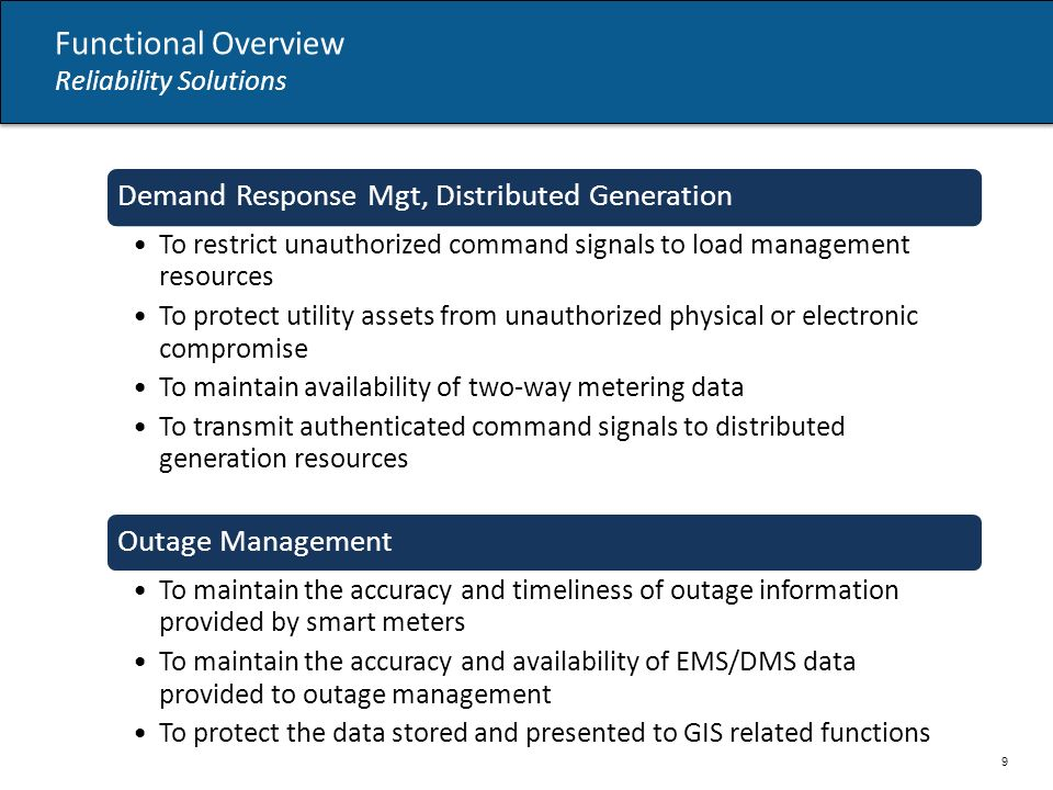 Functional Overview Reliability Solutions 9 Demand Response Mgt, Distributed Generation To restrict unauthorized command signals to load management resources To protect utility assets from unauthorized physical or electronic compromise To maintain availability of two-way metering data To transmit authenticated command signals to distributed generation resources Outage Management To maintain the accuracy and timeliness of outage information provided by smart meters To maintain the accuracy and availability of EMS/DMS data provided to outage management To protect the data stored and presented to GIS related functions