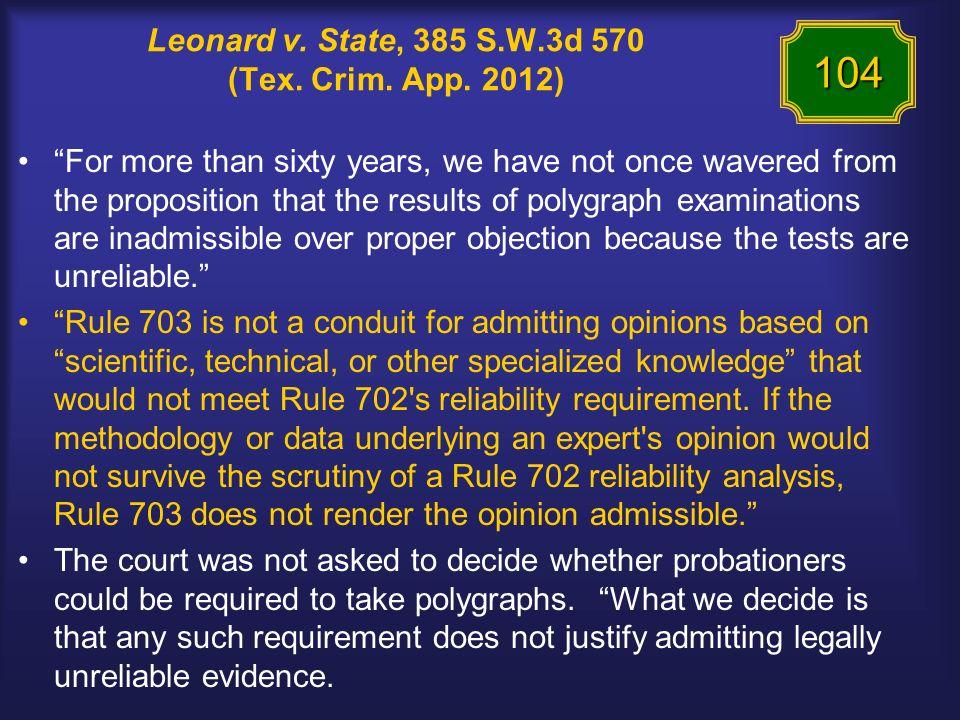 Leonard v. State, 385 S.W.3d 570 (Tex. Crim. App.