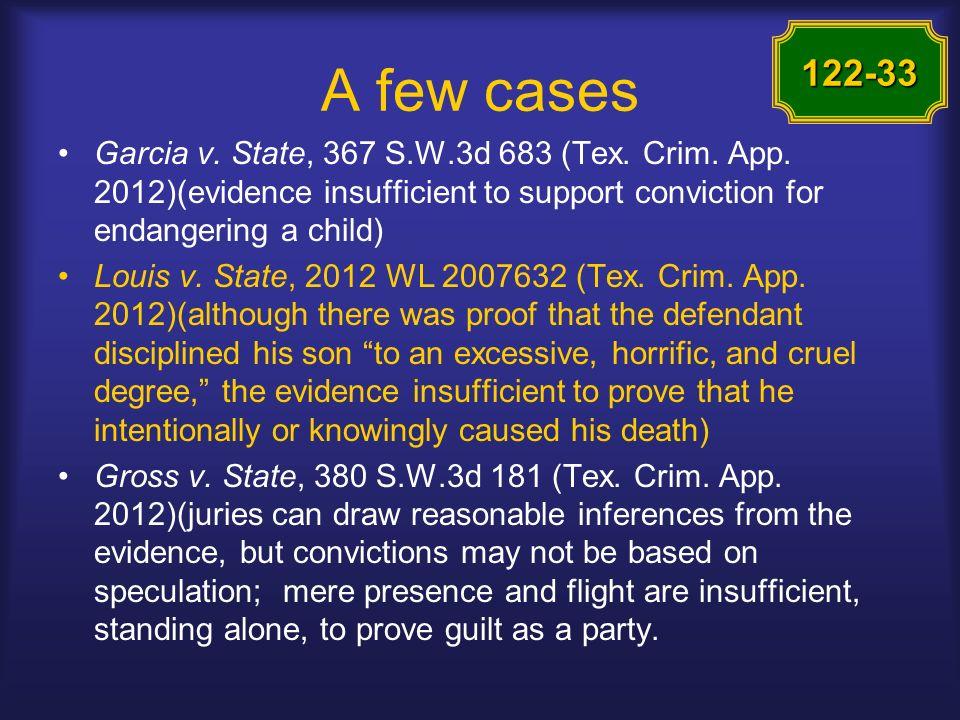 A few cases Garcia v. State, 367 S.W.3d 683 (Tex.