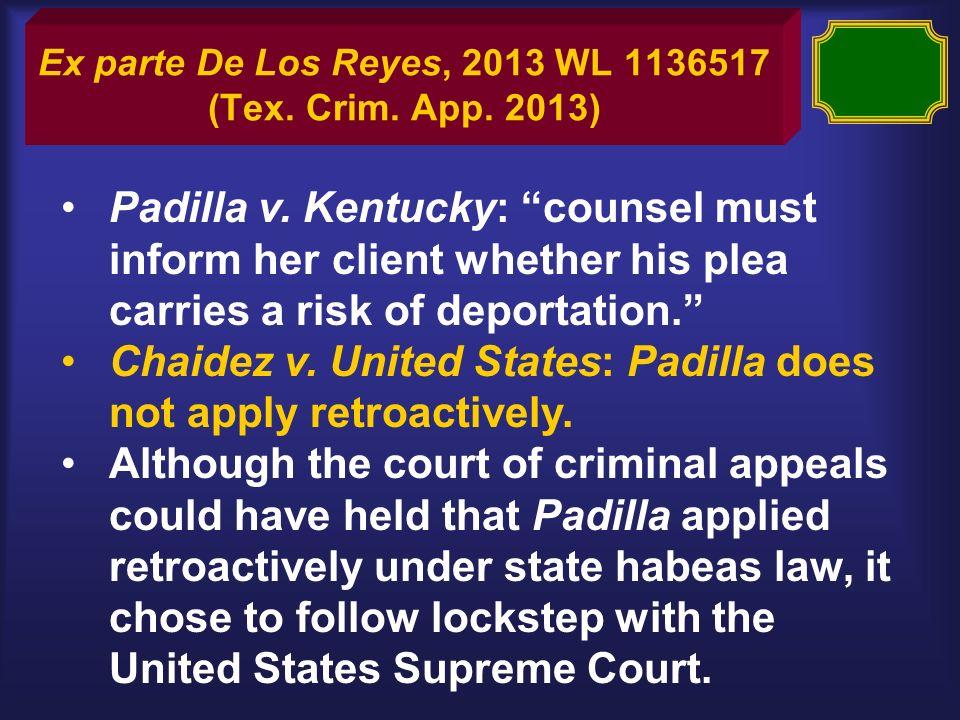 Ex parte De Los Reyes, 2013 WL 1136517 (Tex. Crim.