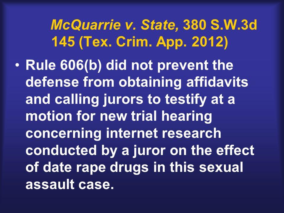 McQuarrie v. State, 380 S.W.3d 145 (Tex. Crim. App.