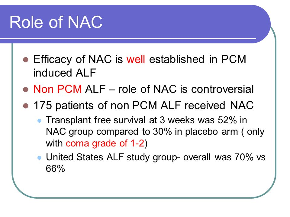 Role of NAC Efficacy of NAC is well established in PCM induced ALF Non PCM ALF – role of NAC is controversial 175 patients of non PCM ALF received NAC