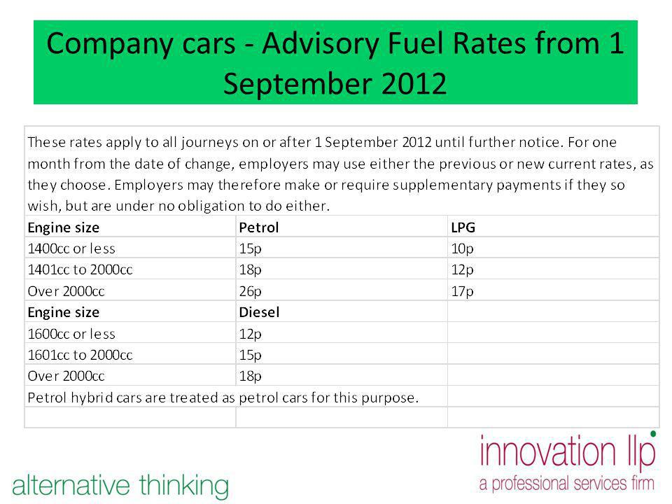 Company cars - Advisory Fuel Rates from 1 September 2012