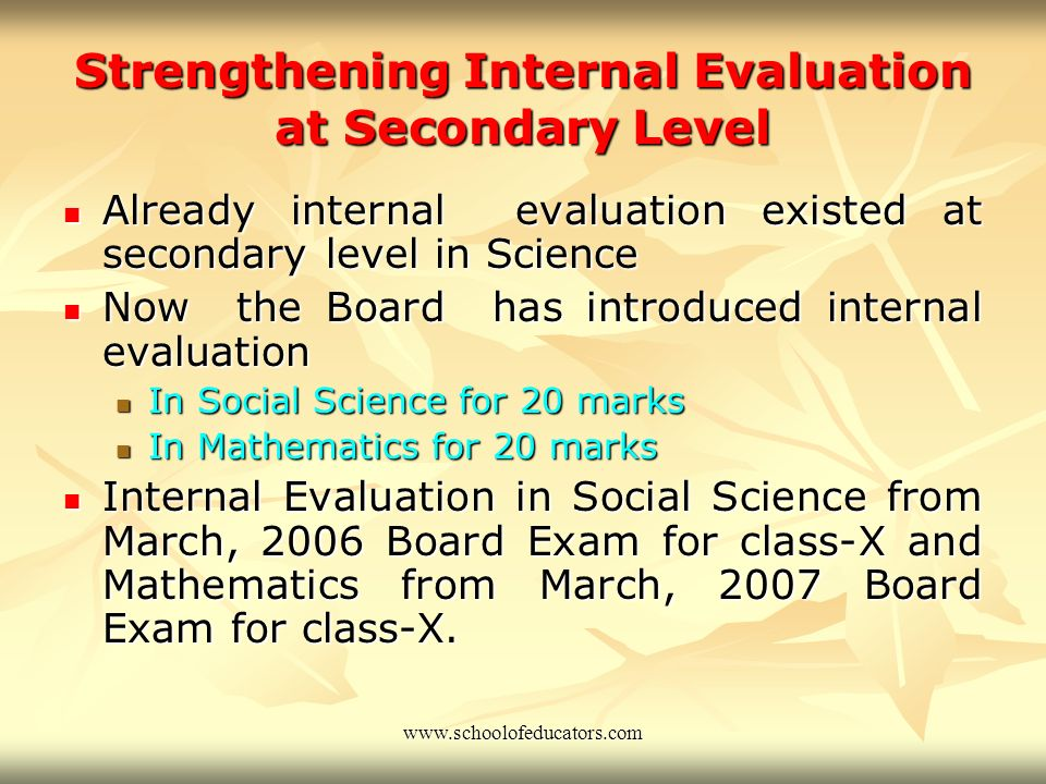 Continuous and Comprehensive Evaluation (Upper Primary Level) Emphasis on extension of Continuous and Comprehensive Evaluation up to class VIII Emphas