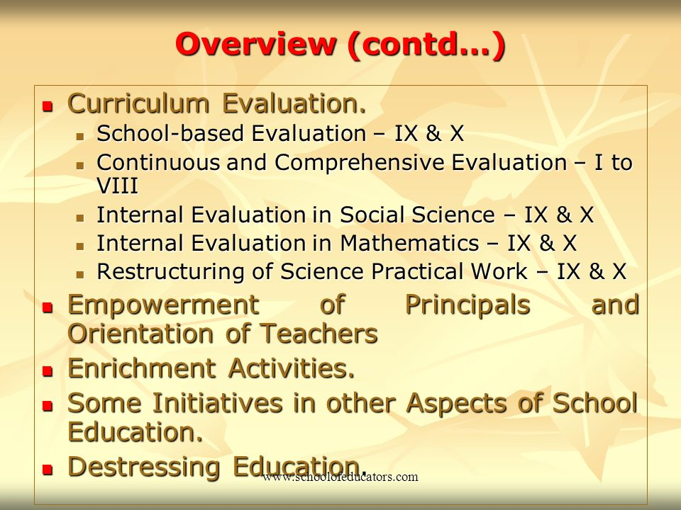General Conducive School Environment Schools should provide the right ambience for learners to achieve their potential.