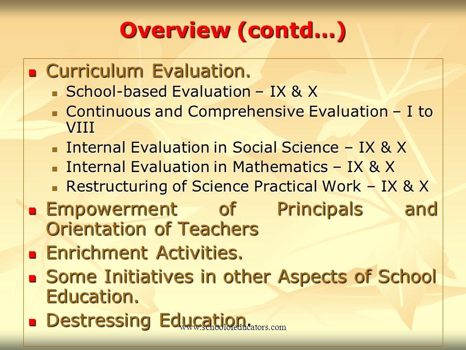 Overview (contd…) Curriculum Evaluation.Curriculum Evaluation.