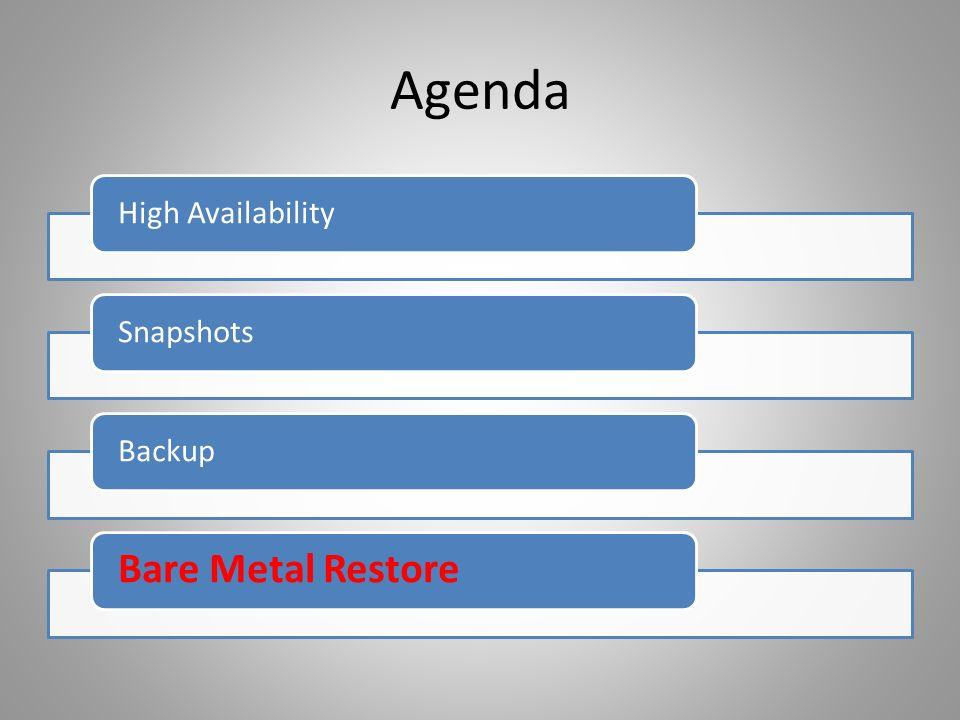Agenda High AvailabilitySnapshotsBackup Bare Metal Restore