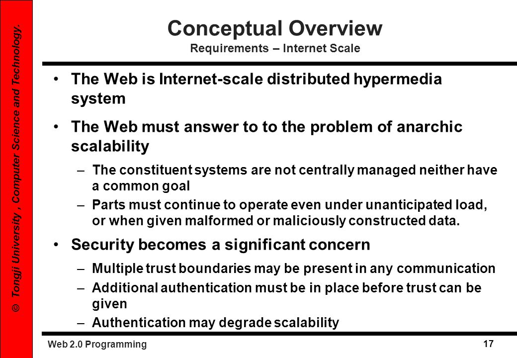 Web 2.0 Programming 17 © Tongji University, Computer Science and Technology. The Web is Internet-scale distributed hypermedia system The Web must answ