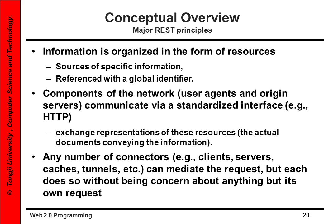 Web 2.0 Programming 20 © Tongji University, Computer Science and Technology. Conceptual Overview Major REST principles Information is organized in the