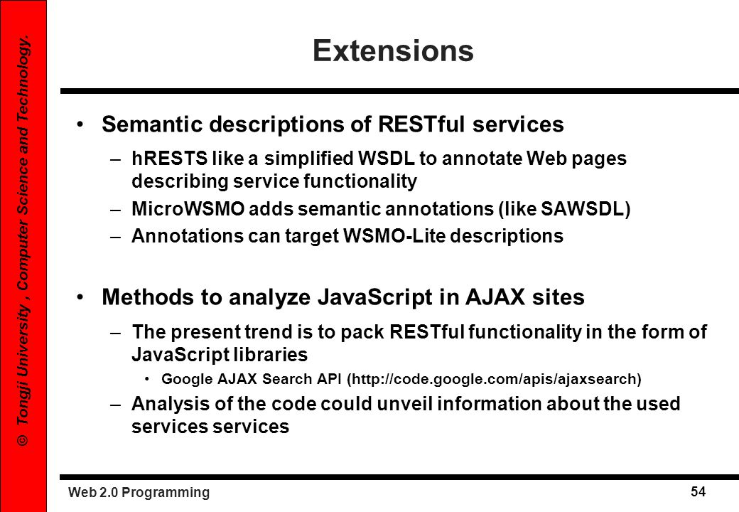 Web 2.0 Programming 54 © Tongji University, Computer Science and Technology. Extensions Semantic descriptions of RESTful services –hRESTS like a simpl