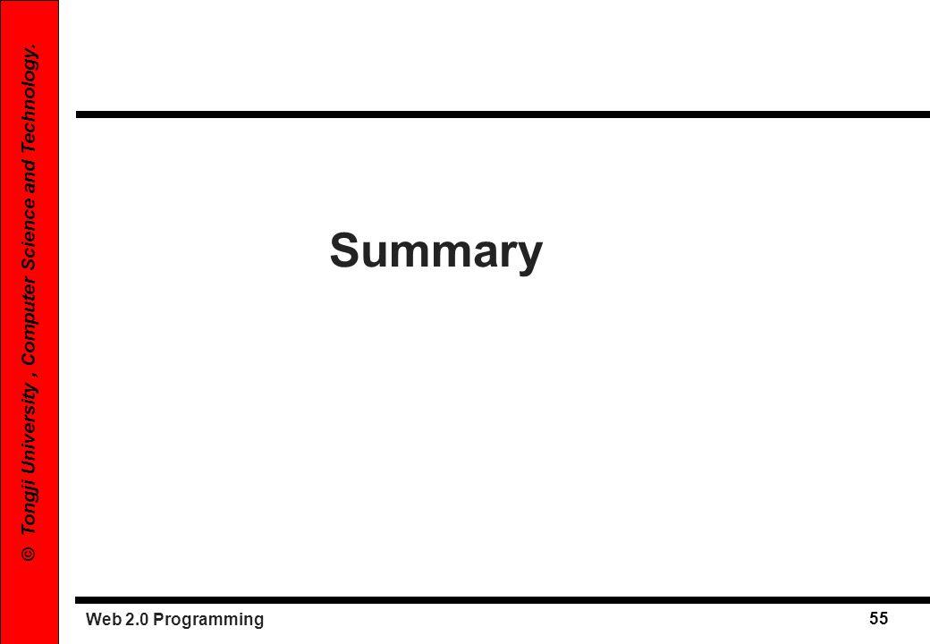 Web 2.0 Programming 55 © Tongji University, Computer Science and Technology. Summary