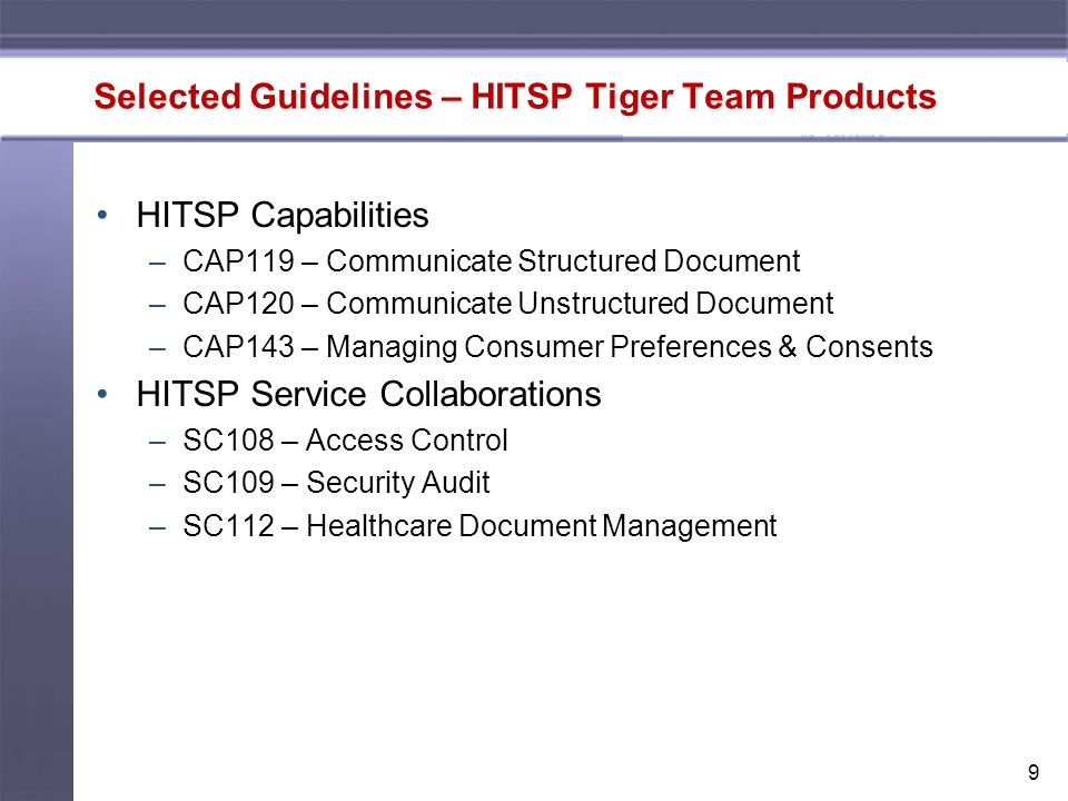 9 Selected Guidelines – HITSP Tiger Team Products HITSP Capabilities –CAP119 – Communicate Structured Document –CAP120 – Communicate Unstructured Document –CAP143 – Managing Consumer Preferences & Consents HITSP Service Collaborations –SC108 – Access Control –SC109 – Security Audit –SC112 – Healthcare Document Management