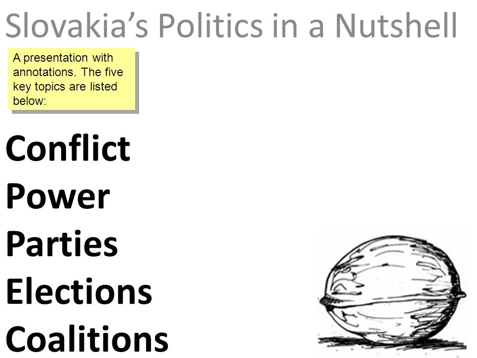 Conflict Power Parties Elections Coalitions Slovakias Politics in a Nutshell A presentation with annotations.