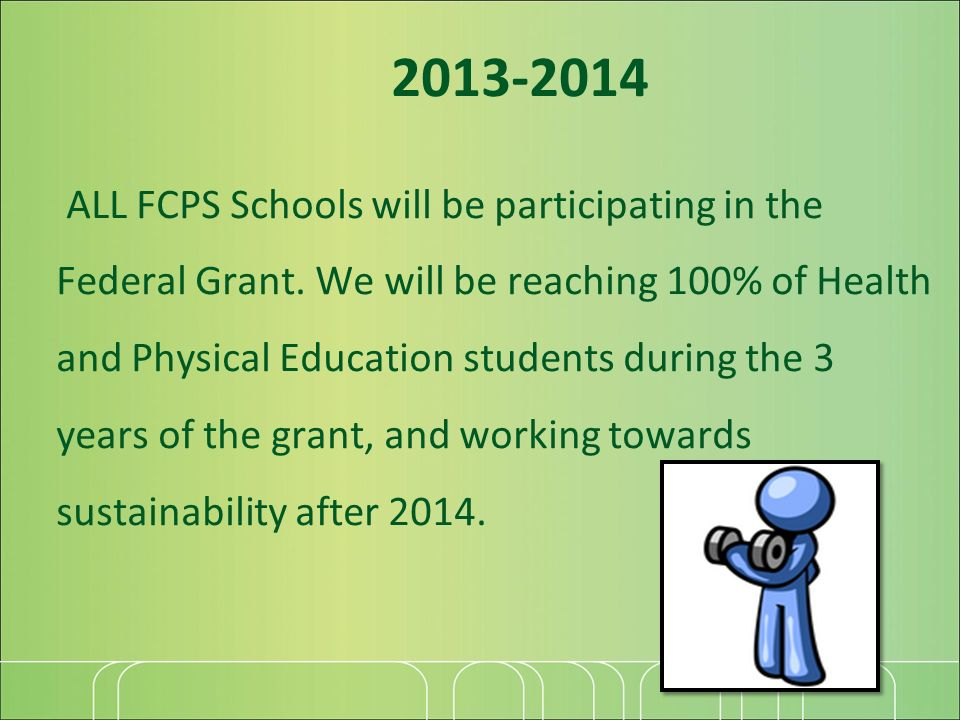 2013-2014 ALL FCPS Schools will be participating in the Federal Grant. We will be reaching 100% of Health and Physical Education students during the 3