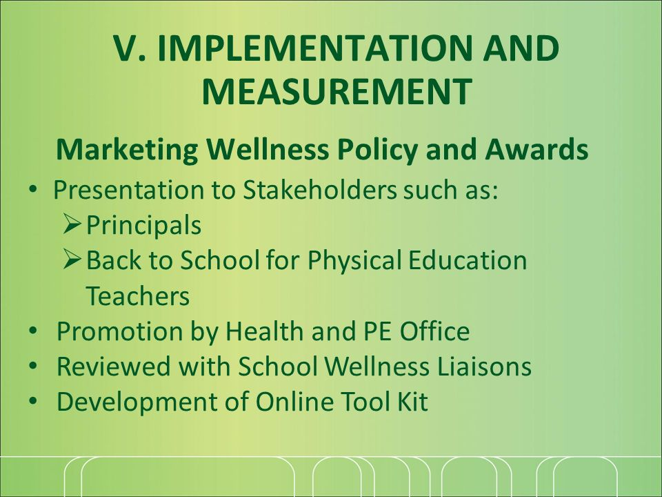Marketing Wellness Policy and Awards Presentation to Stakeholders such as: Principals Back to School for Physical Education Teachers Promotion by Health and PE Office Reviewed with School Wellness Liaisons Development of Online Tool Kit V.