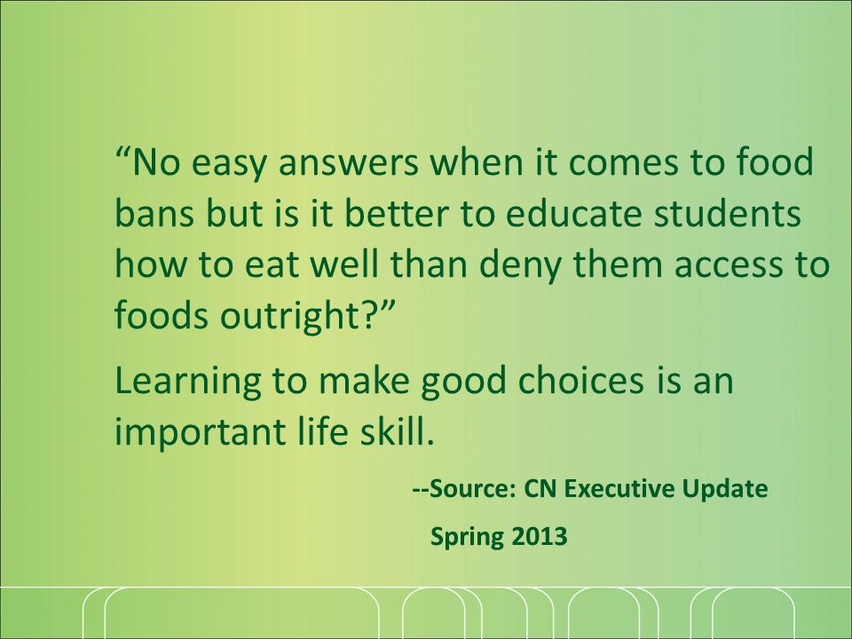 No easy answers when it comes to food bans but is it better to educate students how to eat well than deny them access to foods outright? Learning to m
