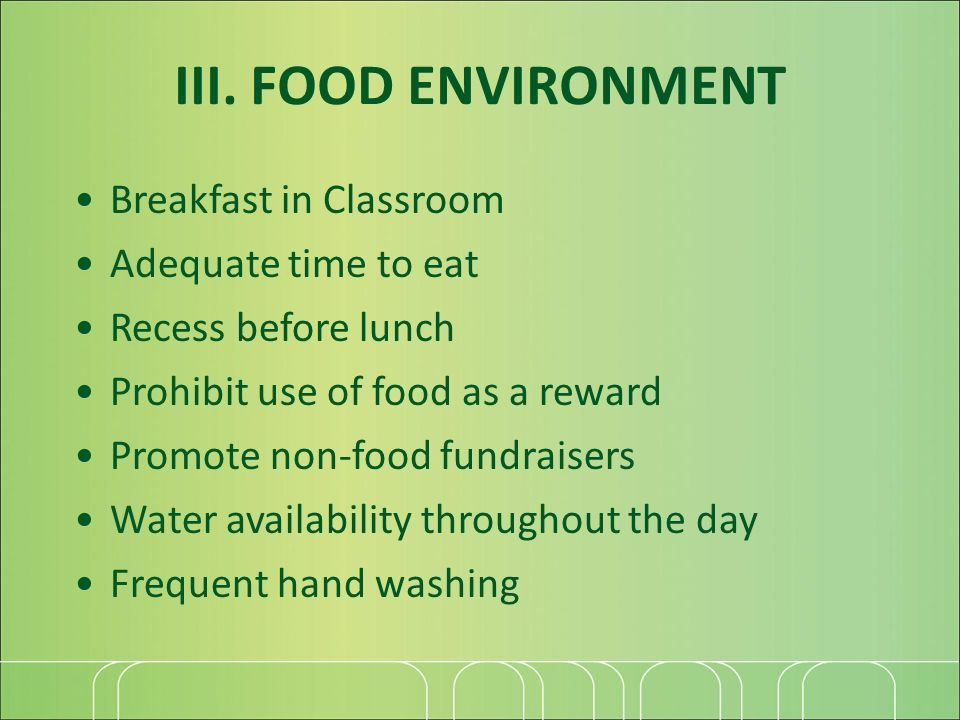 III. FOOD ENVIRONMENT Breakfast in Classroom Adequate time to eat Recess before lunch Prohibit use of food as a reward Promote non-food fundraisers Wa