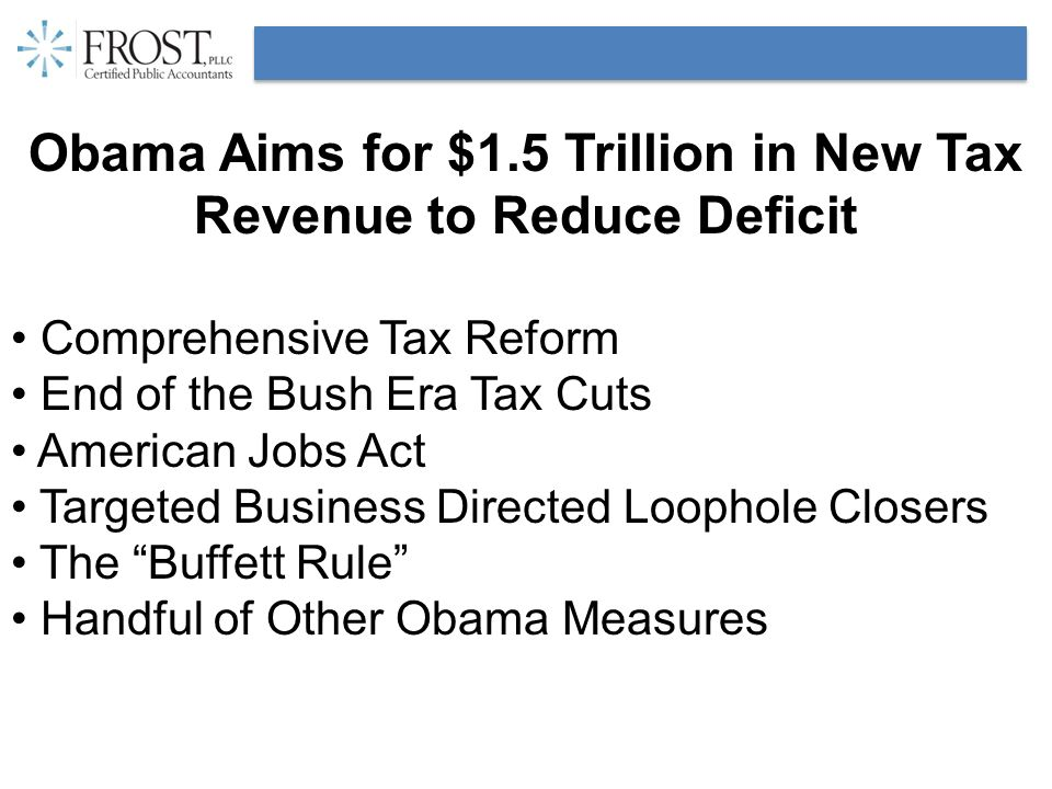 Obama Aims for $1.5 Trillion in New Tax Revenue to Reduce Deficit Comprehensive Tax Reform End of the Bush Era Tax Cuts American Jobs Act Targeted Bus
