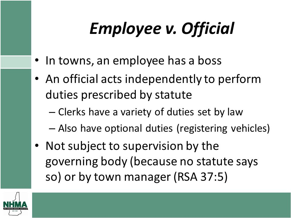 Relationship with Governing Body May the governing body impose internal controls on the clerk and other officials.