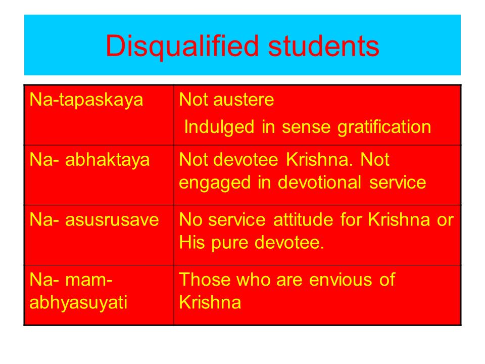 Disqualified students Na-tapaskayaNot austere Indulged in sense gratification Na- abhaktayaNot devotee Krishna. Not engaged in devotional service Na-