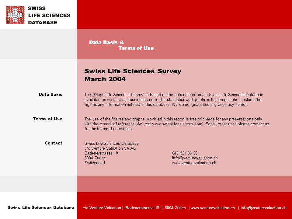 Swiss Life Sciences Database c/o Venture Valuation | Badenerstrasse 18 | 8004 Zürich | www.venturevaluation.ch | info@venturevaluation.ch Data Basis Terms of Use Contact Swiss Life Sciences Survey March 2004 The Swiss Life Sciences Survey is based on the data entered in the Swiss Life Sciences Database available on www.swisslifesciences.com.
