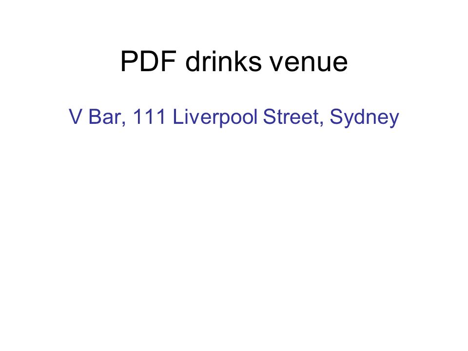 PDF drinks venue V Bar, 111 Liverpool Street, Sydney
