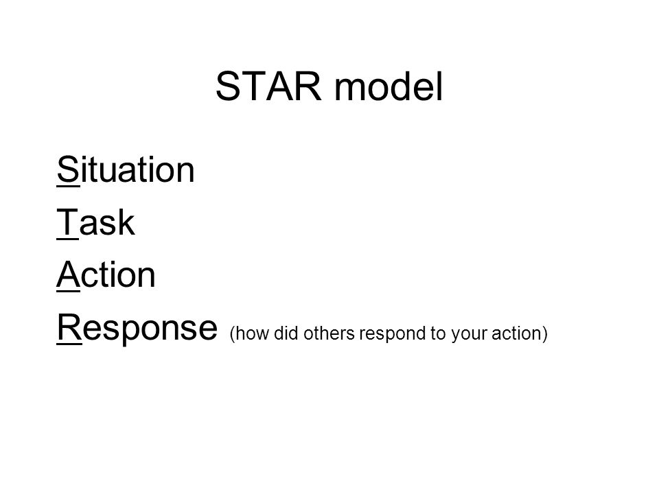 STAR model Situation Task Action Response (how did others respond to your action)
