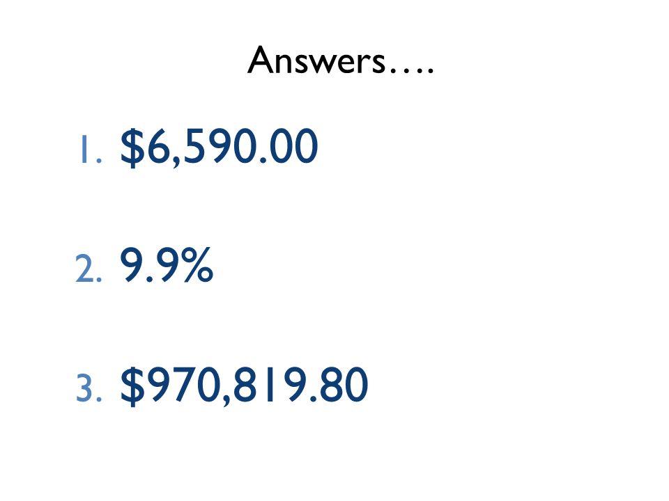 Answers…. 1. $6,590.00 2. 9.9% 3. $970,819.80