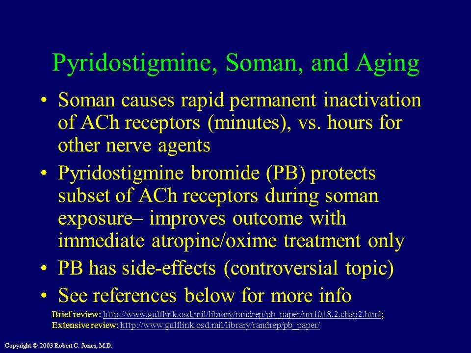 Copyright © 2003 Robert C. Jones, M.D. Pyridostigmine, Soman, and Aging Soman causes rapid permanent inactivation of ACh receptors (minutes), vs. hour