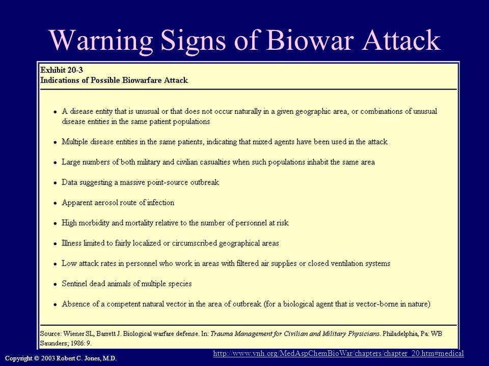Copyright © 2003 Robert C. Jones, M.D. Warning Signs of Biowar Attack http://www.vnh.org/MedAspChemBioWar/chapters/chapter_20.htm#medical