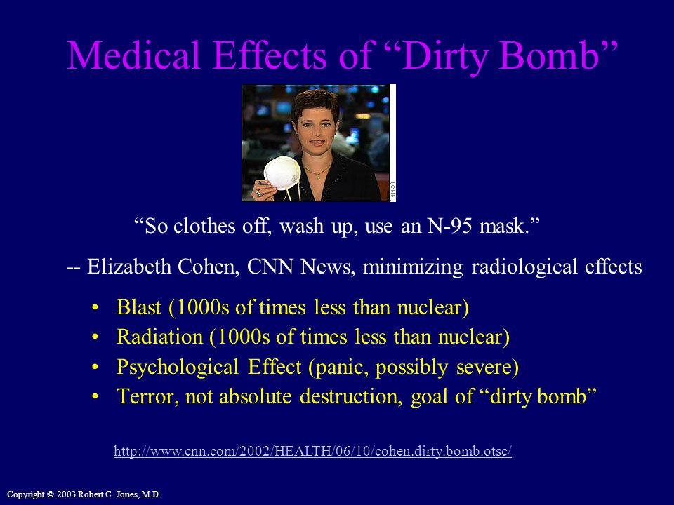 Copyright © 2003 Robert C. Jones, M.D. Medical Effects of Dirty Bomb Blast (1000s of times less than nuclear) Radiation (1000s of times less than nucl
