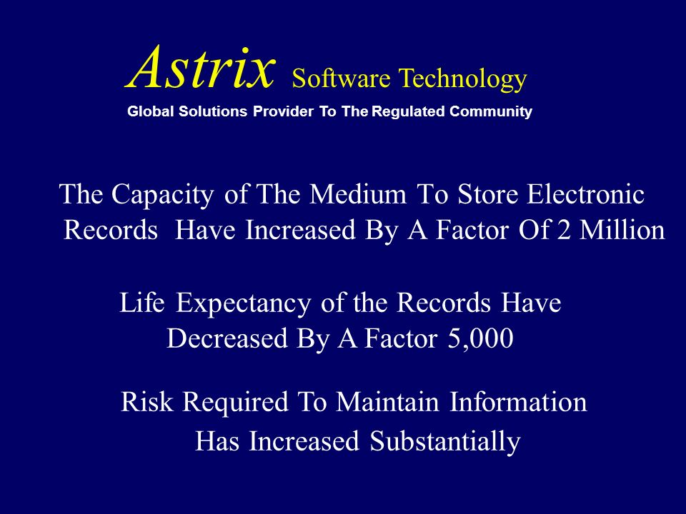 The Capacity of The Medium To Store Electronic Records Have Increased By A Factor Of 2 Million Astrix Software Technology Global Solutions Provider To