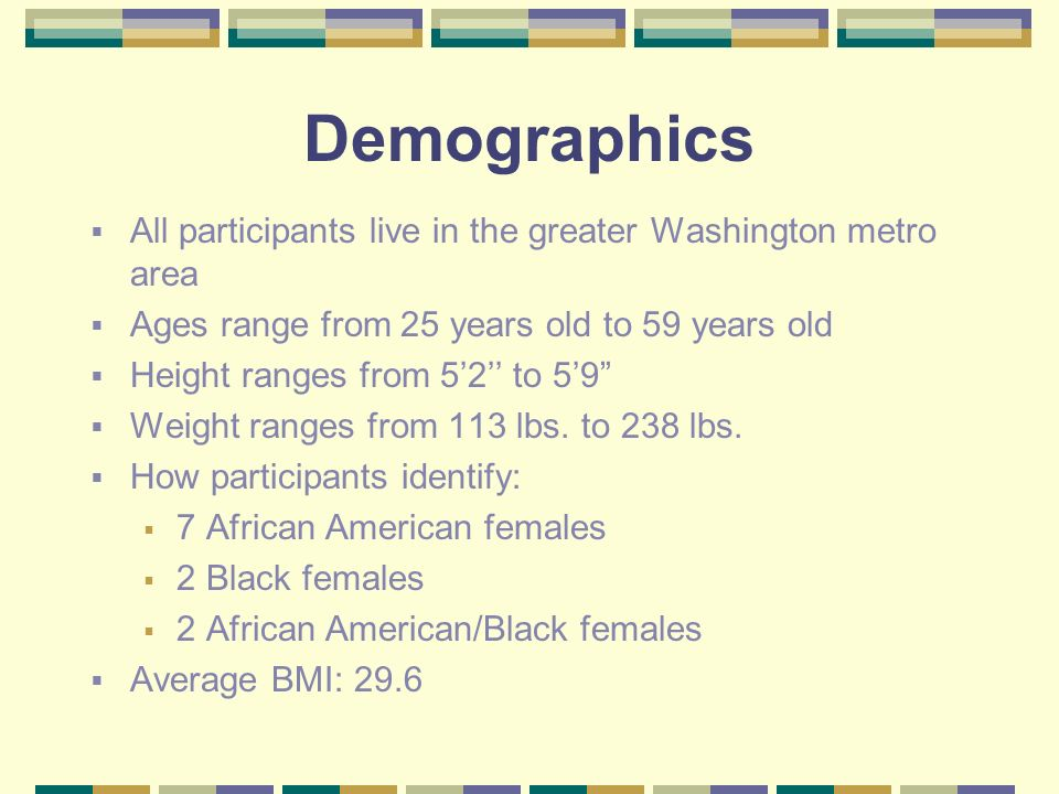 Demographics All participants live in the greater Washington metro area Ages range from 25 years old to 59 years old Height ranges from 52 to 59 Weight ranges from 113 lbs.