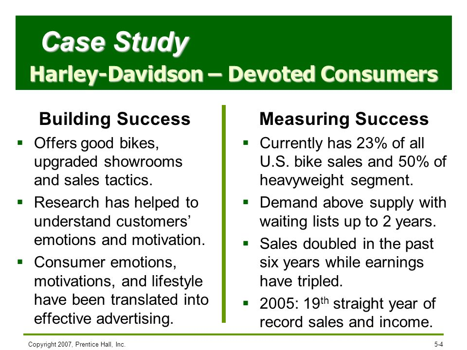 Copyright 2007, Prentice Hall, Inc.5-4 Building Success Offers good bikes, upgraded showrooms and sales tactics. Research has helped to understand cus