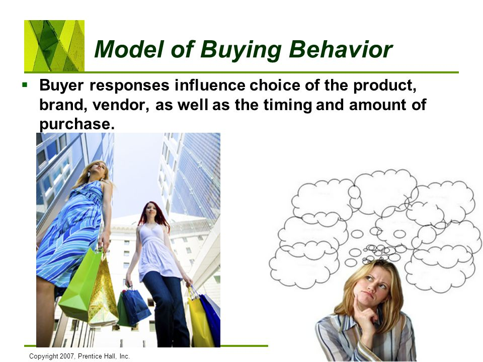 Copyright 2007, Prentice Hall, Inc.5-6 Model of Buying Behavior Buyer responses influence choice of the product, brand, vendor, as well as the timing
