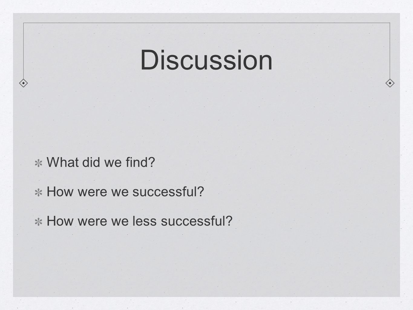 Discussion What did we find How were we successful How were we less successful