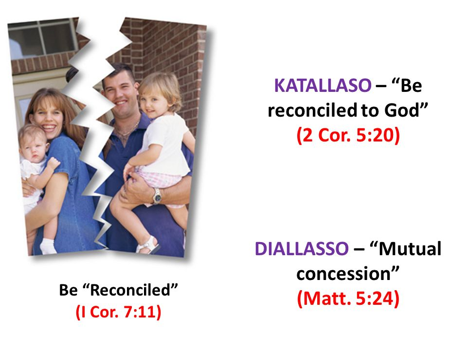 Be Reconciled (I Cor.7:11) KATALLASO – Be reconciled to God (2 Cor.