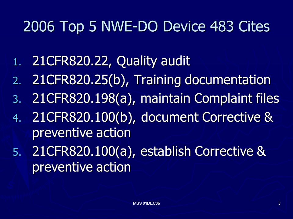 MSS 01DEC063 2006 Top 5 NWE-DO Device 483 Cites 1.