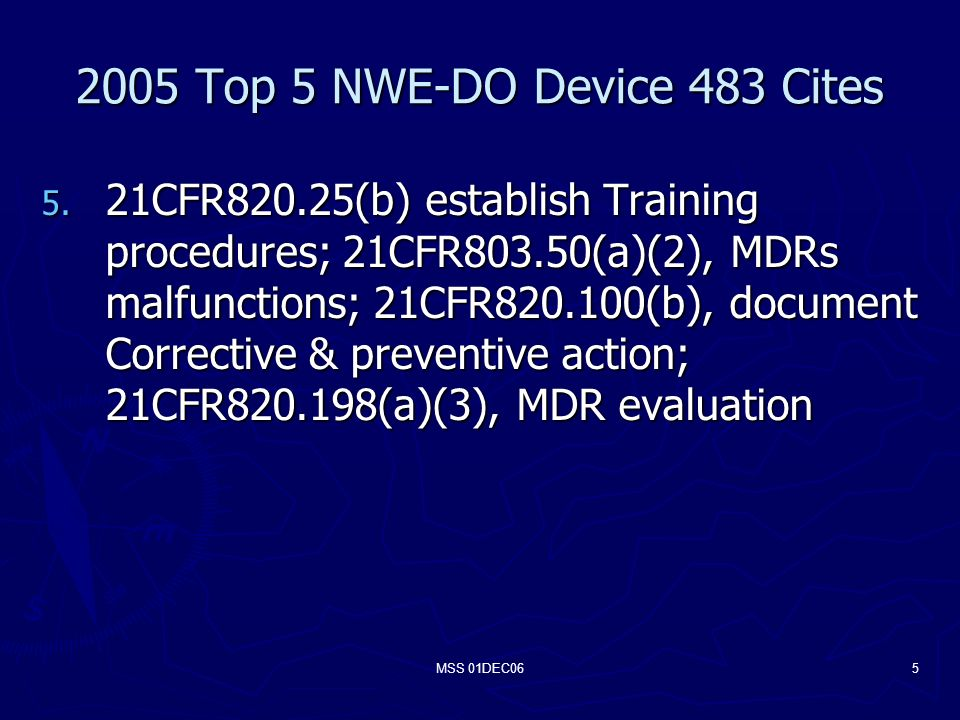 MSS 01DEC065 2005 Top 5 NWE-DO Device 483 Cites 5.