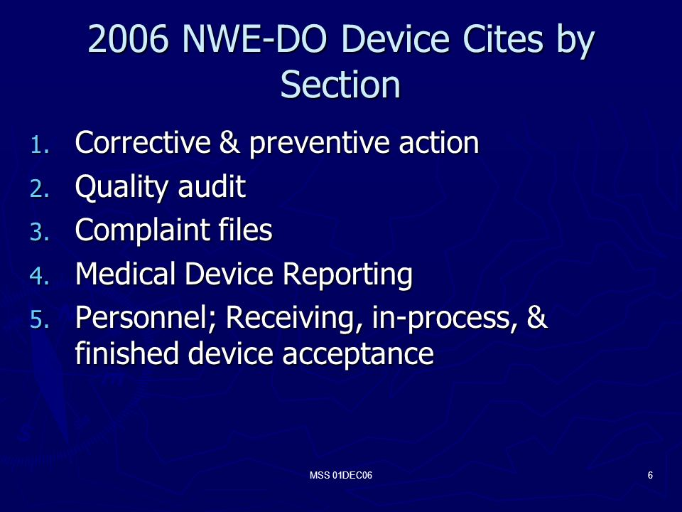 MSS 01DEC066 2006 NWE-DO Device Cites by Section 1.