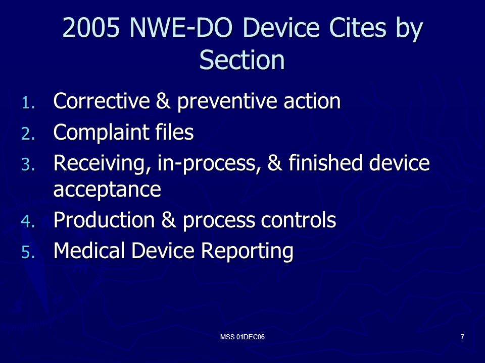 MSS 01DEC067 2005 NWE-DO Device Cites by Section 1.