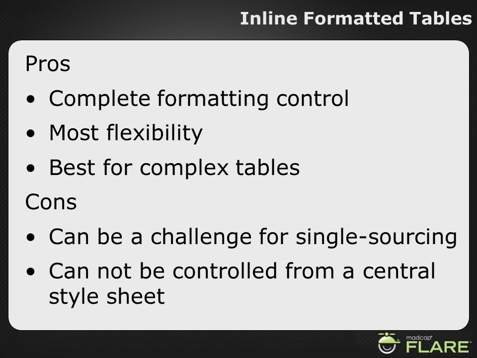 Inline Formatted Tables Pros Complete formatting control Most flexibility Best for complex tables Cons Can be a challenge for single-sourcing Can not