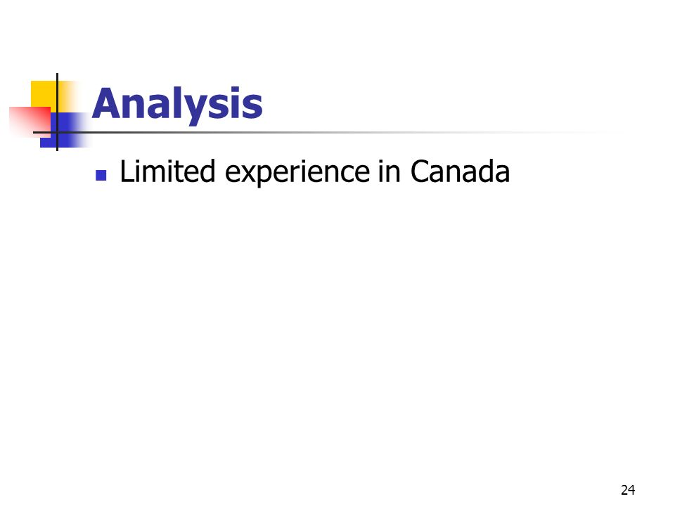 24 Analysis Limited experience in Canada