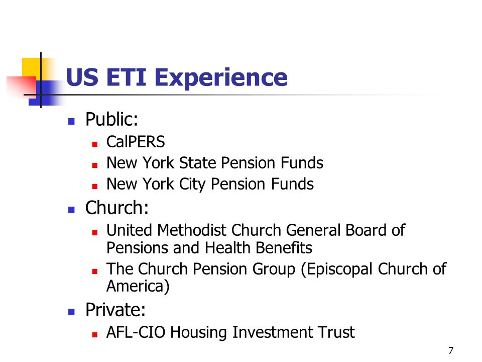 8 Current Research Mapping US public sector pension funds to assess urban revitalization interest Policies and programs: CalPERS CalSTERS NY State Commons NY City Retirement 6 considering urban revitalization 10 inner-city investments part of asset allocation - no stated goal