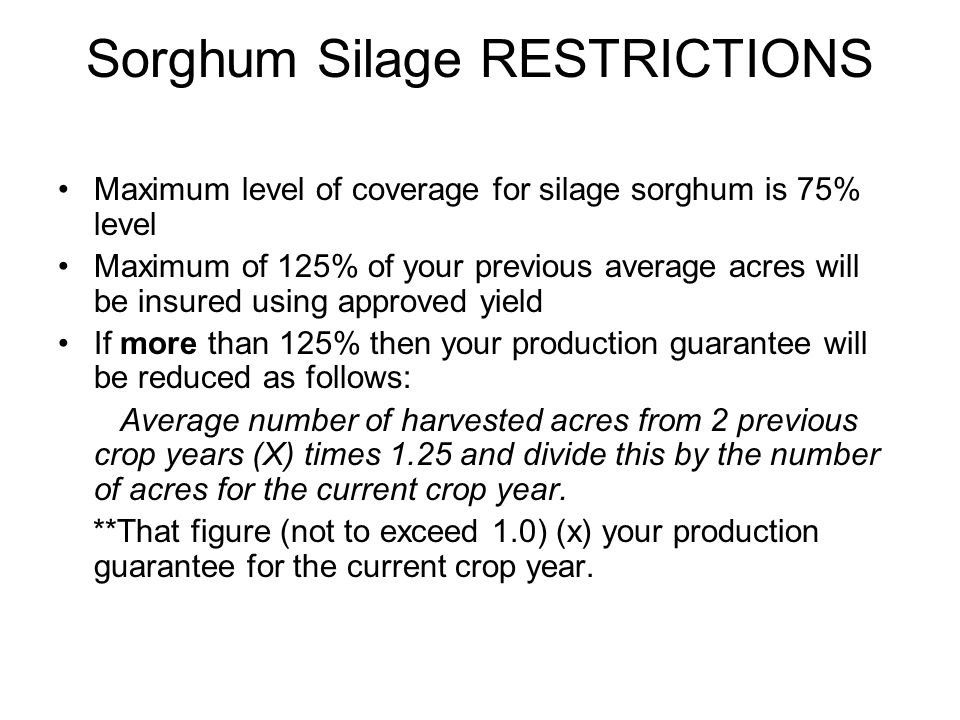 Sorghum Silage RESTRICTIONS Maximum level of coverage for silage sorghum is 75% level Maximum of 125% of your previous average acres will be insured u